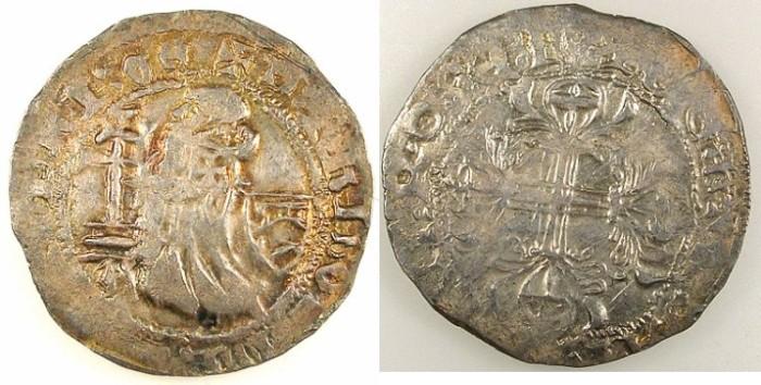 Ancient Coins - CRUSADER STATES.RHODES.Philibert De Naillac AD 1396-1421.AR.Gigliato.SANTA CROSE reverse legend