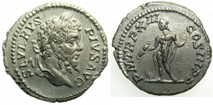 Ancient Coins - ROMAN.Septimius Severus AD 193-211.AR.Denarius AD 205.~~~Jupiter standing holding thunderbolt.