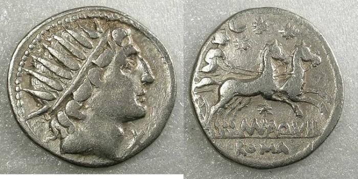 Ancient Coins - ROME Republic Mn.Aquillius 109/108 BC AR Denarius Sol Rev.Luna in biga
