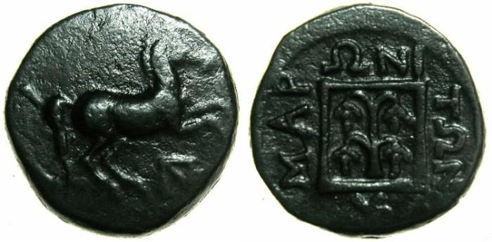Ancient Coins - THRACE.MARONEIA.Circa 398-347 BC.AE.15.4mm.~~~Prancing horse.~#~Grape arbor.