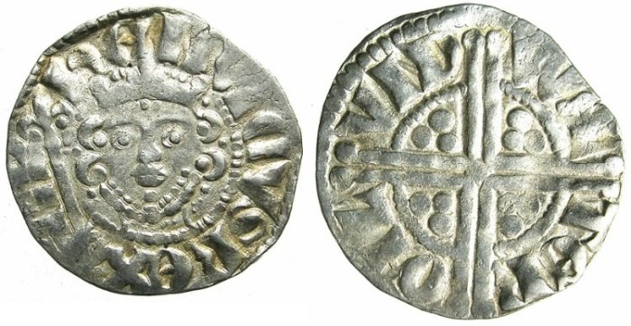 "Ancient Coins - ENGLAND.Henry III AD 1216-1272.AR.Penny.""Long cross""class 5a.Moneyer WALTER.Mint of LONDON."