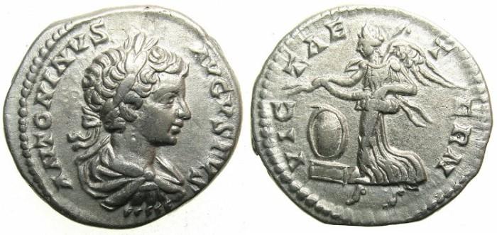 Ancient Coins - ROMAN.Caracalla Augustus AD 198-209.AR.Denarius c.199-200.~~~Victory, shield on base.