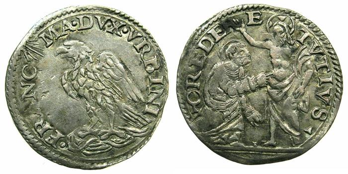 World Coins - ITALY.URBINO.Francesco Maria II Della Rovere AD 1574-1624.AR.Grosso.~#~. Saint Thomas kneeling before Christ.
