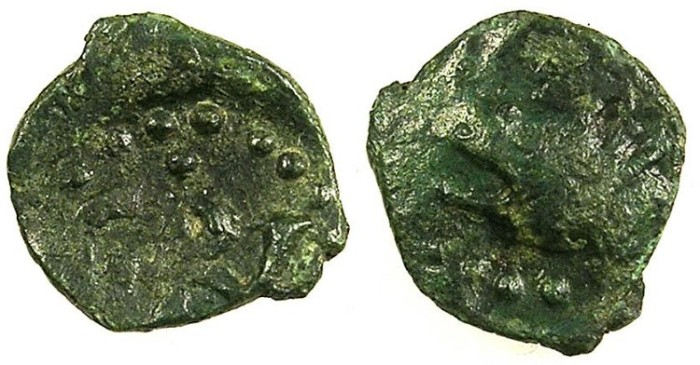Ancient Coins - ITALY.SALERNO.William II AD 1154-1166.AE.Follaro.Wolf head  left