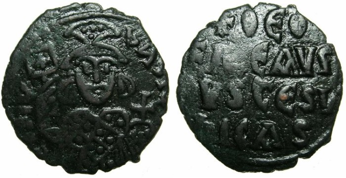 Ancient Coins - BYZANTINE EMPIRE.Theophilus AD 829 - 872.AE.Follis.Crude style, provincial mint; unknown location.