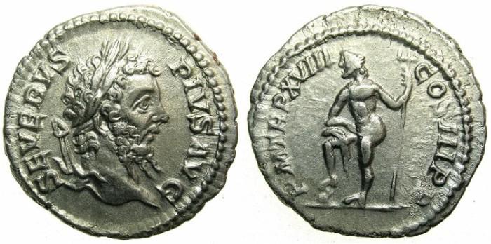 Ancient Coins - ROMAN.Septimius Severus AD 193-211.AR.Denarius AD 210.!st issue obverse.~~~Neptune.