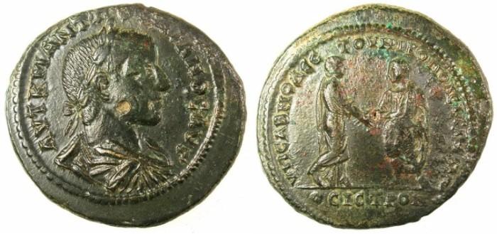 Ancient Coins - MOESIA INTERIOR.Nikopolis ad Istrum.Gordian III AD 238-244.AE.28.Gordian greeting Tranquillina
