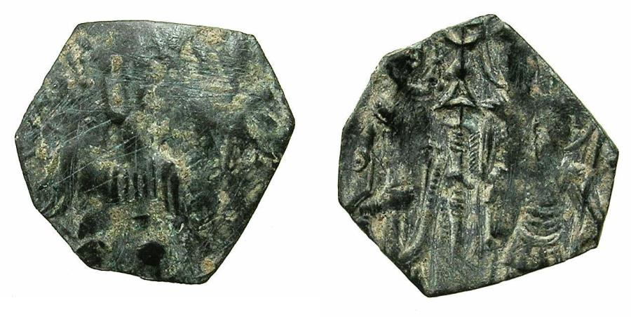 Ancient Coins - BYZANTINE.EMPIRE OF THESSALONICA. Theodore Comnenus - Ducas AD 1224-1230.Billon Trachy. Neatly clipped.
