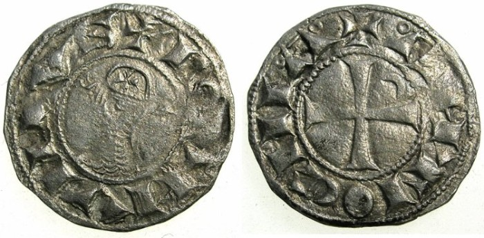 World Coins - CRUSADER STATES.Principality of  ANTIOCH. Bohemond III or IV c.1149-1233 Bi.Denier. Class E