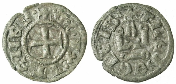 Ancient Coins - CRUSADER STATES.GREECE.ATHENS.William I of la Roche AD 1280-87 or Guy II of la Roche AD 1287-1308.Bi.Denier.Type A8.