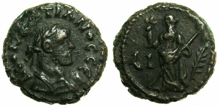 Ancient Coins - EGYPT.ALEXANDRIA.Diocletian AD 284-305.Billon Tetradrachm, struck AD 293/294.~#~.Eirene standing.
