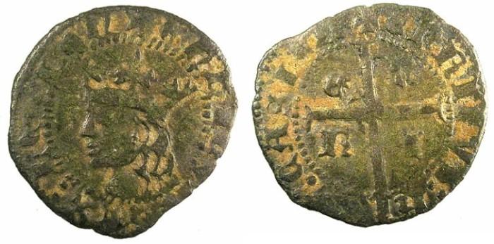 Ancient Coins - SPAIN.CASTILLE AND LEON.Enrique II AD 1369-1379.Bi.Cruzado.No mint mark.