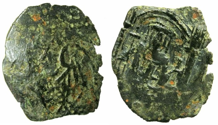 Ancient Coins - BYZANTINE EMPIRE.Andronicus II AD 1282-1328.AE.Trachy.Thessaloniki.~~~Two wings.~#~Emperor standing beneath canopy.