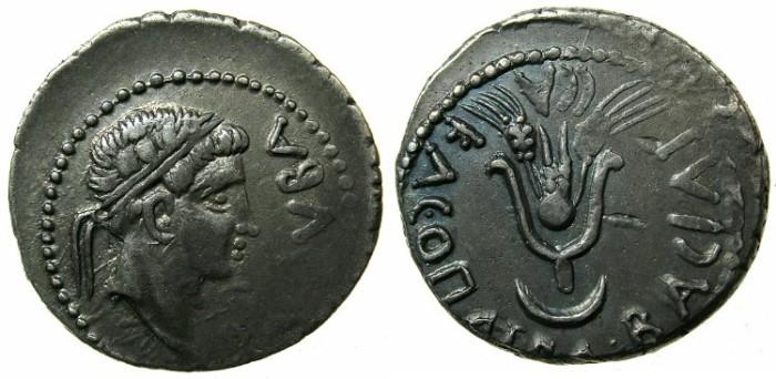 Ancient Coins - MAURETANIA.Juba II and Cleopatra Selene 25BC-AD24.AR.Denarius.~#~.Headdress of Isis above crescent.
