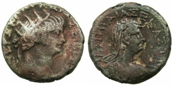 Ancient Coins - EGYPT.ALEXANDRIA.Nero AD 54-68.Billon Tetradrachm.AD 63/64. ~#~.Bust of POPPAEA.