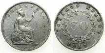 World Coins - GREECE.IONION ISLANDS.British Administration.AR.30 Lepta 1857.No Dot.Scarce.
