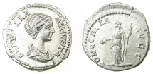 Ancient Coins - ROME.Plautilla, wife of Caracalla, Augusta AD 202-205.AR.Denarius.Mint of ROME.~#~.Concordia standing.