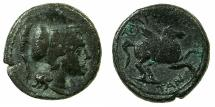 Ancient Coins - SICILY.TAUROMENION.circa 225-210 BC.AE.17.6mm.~~~Athena.~#~.Pegasus. ****From the Hyde-clarke collection, 1895 ****