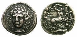 Ancient Coins - SICILY.KATANE. 'Tetradrcham circa 405-403/2 signed by Herakleidas' Bristish Museum electrotype copy by Robert Ready.
