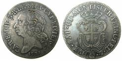 World Coins - ITALY.SARDINIA.Carlo Emanuele III 1730-1773.AR.Mezzo Scudo Sardo.1771.Mint of TURIN.