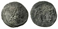 Ancient Coins - ROME.REPUBLIC.T.Cloulius 94 BC.AR.Quinarius. Reverse. Trophy, below captive and carnyx