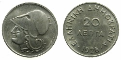 World Coins - GREECE.REPUBLIC.20 Lepta 1926