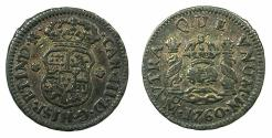World Coins - MEXICO under SPAIN.Charles III 1759-1788.AR.1/2 Real 1760.Mexico city mint.