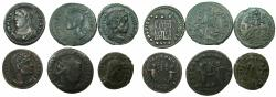 Ancient Coins - ROMAN.IMPERIAL.Goup of six  4th cent AD.copper coins.
