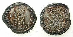 World Coins - ITALY.VENICE.Andrea Contarini AD 1368-1382.AR.Soldino 2nd Type.1st.issue.issued by Edit dated 19th December 1369.Sigla F