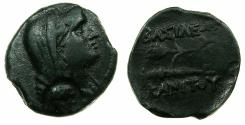 Ancient Coins - THRACE.Kings of SKYTHIA.Kanites Circa 210-195 BC.AE.25mm. Bust of Demetra countermarked bearded Satyr.