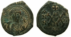 Ancient Coins - BYZANTINE EMPIRE.Maurice Tiberius AD 582-602.AE.1/2 Follis, struck AD 583/4. Mint of THEOUPOLIS ( ANTIOCH ).