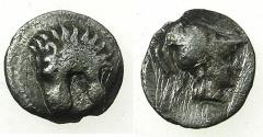 Ancient Coins - PAMPHYLIA.SIDE.Circa 370-360 BC.AR.Tritartemorion. Lion head. Reverse. Bust of Athena.