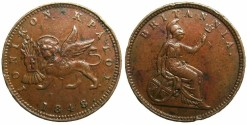 "World Coins - GREECE.IONION ISLANDS, under British Administration.AE.One Lepton 1848.""""""KEY DATE"""""""""