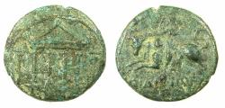 Ancient Coins - PHOENICIA.SIDON.Pseudo Autonomous.Time of Tiberius AD 14-37.AE.22mm. Tetrastye temple. Reverse. Europa on bull.