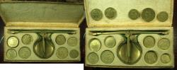 World Coins - ITLAY. MILAN? Late 18th to early 19t cent Brass Scale and weights ( 13 ). The weights for gold coins.