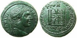 Ancient Coins - MOESIA INFERIOR.NIKOPOLIS AD ISTRUM.Elagabalus AD 218-222.AE.26mm.City gate with towers.