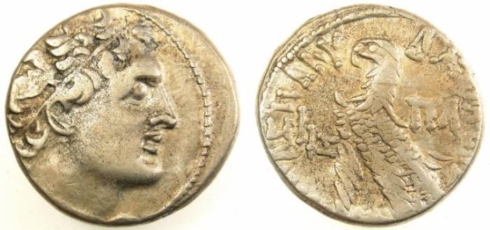 Ancient Coins - PTOLEMAIC EMPIRE.EGYPT.ALEXANDRIA.Ptolemy XII Neos Dionysios 80-51 BC.AR.Tetradrachm.65/64BC.