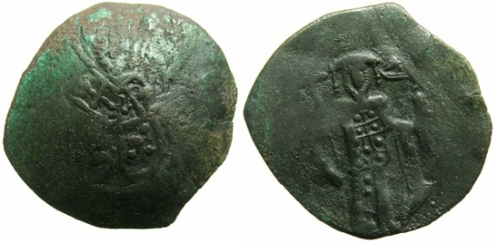 Ancient Coins - BYZANTINE EMPIRE.Michael VIII AD 1258/9-82.AE.Trachy.Class XXVII.~#~Saint Nicholas