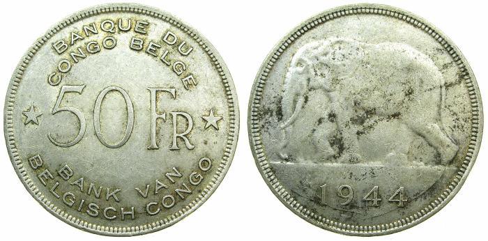 World Coins - BELGIUM CONGO ( ZAIRE ).AR.50 Francs 1944.