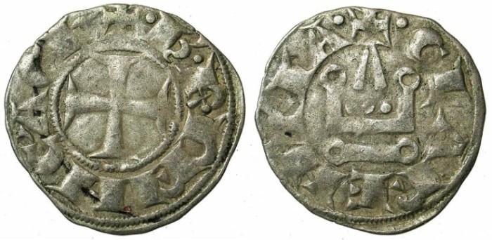 Ancient Coins - CRUSADER.ACHAIA.Charles I or II of Anjou C.1278-1289.Bi.Denier.Corinth mint.