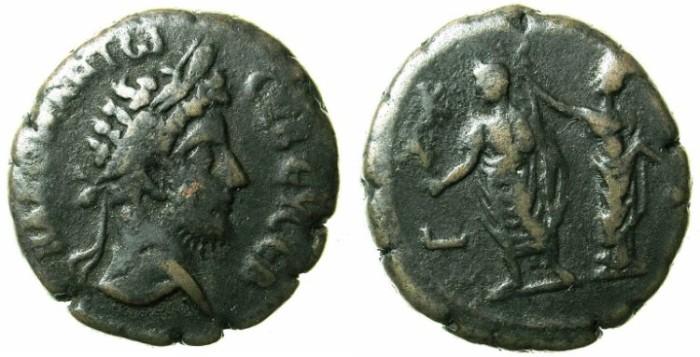 Ancient Coins - EGYPT.ALEXANDRIA.Commodus AD 180-192.Bi.Tetradrachm.Emperor and Alexandria.Year 28 ( 187-188 BC)