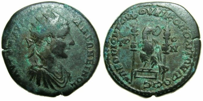 Ancient Coins - THRACE.MOESIA INFERIOR.NIKOPOLIS AD ISTRUM.Elagabalus AD 218-221.AE.27mm.~#~.Legionary eagle on base.