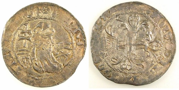 Ancient Coins - CRUSADER STATES.RHODES.Philibert de Nailiac AD 1396-1421.AR.Gigliato