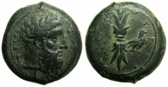 Ancient Coins - SICILY.SYRACUSE.3rd Republic 345-317 ( Timoleon 345-336 BC ).AE.~~~Zeus Eleftherios.~#~Thunderbolt and eagle.