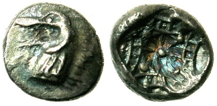 Ancient Coins - CARIA.KINDYA.Circa 500 BC.AR.Hemidrachm.Head of Sea monster KETOS