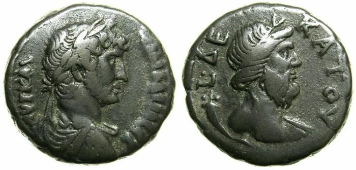 Ancient Coins - EGYPT.ALEXANDRIA.Hadrian AD 117-138.Billon Tetradrachm, struck AD 125/126.~#~.Nilus bust.