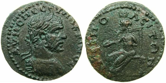 Ancient Coins - MACEDON.AMPHIPOLIS.Macrinus AD 217-218.AE.23mm.~#~.Tyche of AMPHIPOLIS seated left.