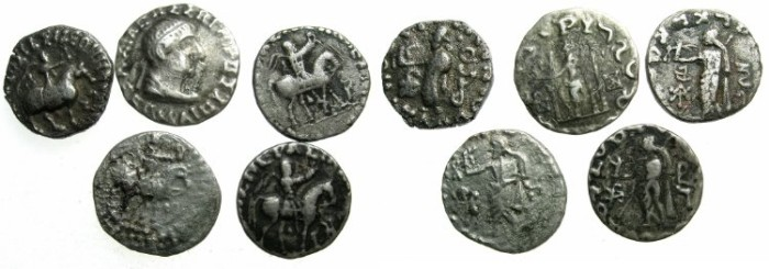 Ancient Coins - INDO - GREEK.Group of five drachmas.