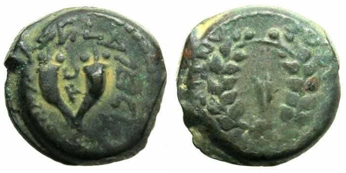 Ancient Coins - JUDAEA.Hasmonean Mattathias Antigonus 40-37 BC.AE.24