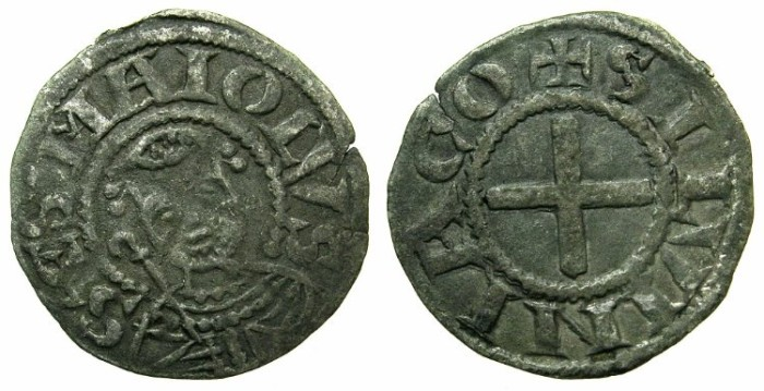 World Coins - FRANCE.SOUVIGNY.Circa 1180-1213.Billon Denier, Anonymous issue.~~~Saint Martial.